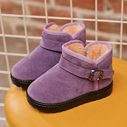 Hunpta Kinder Herbst Winter Warm Mode Kinder Martin Mädchen Jungen Casual Snow Boots Lila