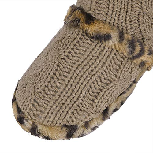 Ankle Slippers Fleece High Women's Indoor Socks Cable Winter Slip Non Knit Floor Greenery Snow Boots Warm Tan Light Lined Cotton GRE qzP75t