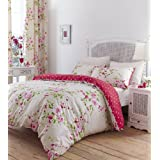 Catherine Lansfield Designer Collection Floral Duvet Set with Polka Dot Reverse - Red (Double)
