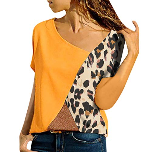 (Claystyle Womens Loose Blouse Short Sleeve V Neck Button Down T Shirts Tie Knot Casual Yellow)