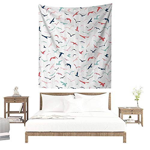 (alisoso Fabric Wall hangings,Seagulls Decor Collection,Group of Seabirds Feeders Boundless Fly Springtime Travel Warm Weather Image,Salmon Pink W51 x L60 inch Bedspread Bedroom Living Kids Girls)