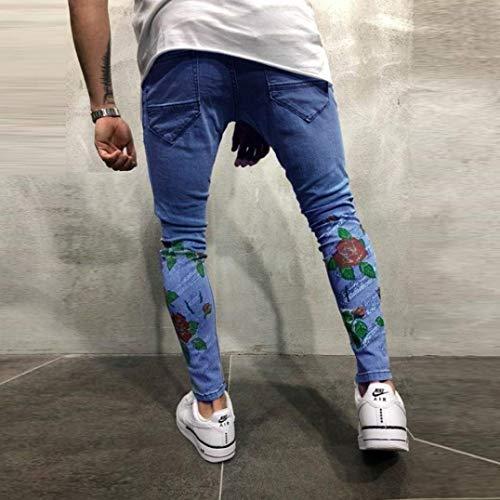 Casual Slim Elasticizzati Jeans Da Fit Stampati Pantaloni Blau Estivi Uomo Strappati Skinny Sfilacciati qpvn8