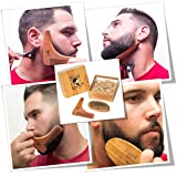 Facial Styles For Round Faces - Beard Comb and Brush Set - Men's Wooden Beard Shaping Tool - Perfect Facial Hair Grooming Kit, Exclusive Moustache, Goatee & Neckline Shaving Accessory, Symmetry & Styling, Unique Brush Kit, Shaper