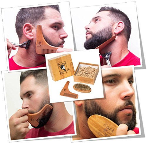 Beard Comb and Brush Set - Men's Wooden Beard Shaping Tool - Perfect Facial Hair Grooming Kit, Exclusive Moustache, Goatee & Neckline Shaving Accessory, Symmetry & Styling, Unique Brush Kit, Shaper