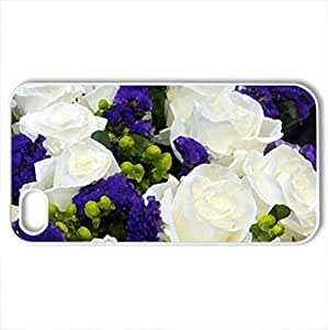 Bouquet - Case Cover for iPhone 4 and 4s (Flowers Series, Watercolor style, White)