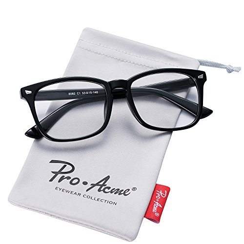 Pro Acme New Wayfarer Non-prescription Glasses Frame Clear Lens Eyeglasses (Black) - Black Optical Frame