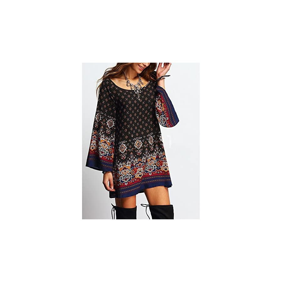 SCASTOE Women Bohemian Ethnic Style Vintage Printed Long Sleeve Loose Casual Tunic Dress