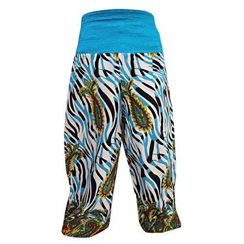 florales harem de rayón indio pantalones elásticos pantalones étnicos pijamas ropa de sport Blanc
