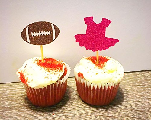 Touchdowns or Tutus GLITTER CUPCAKE TOPPERS Baby Gender Reveal SET OF 12