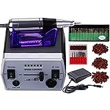 30000RPM Professional Electric Nail File Drill Manicure Pedicure Machine Tool Set Kit Bit Low Noise and Vibration (Black)