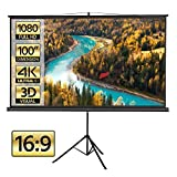 Yaheetech Portable Indoor Outdoor Projector Screen 100 Inch Diagonal Projection HD 16:9 Projection Pull Up Foldable Stand Tripod for Home Theater Cinema Party Office Presentation
