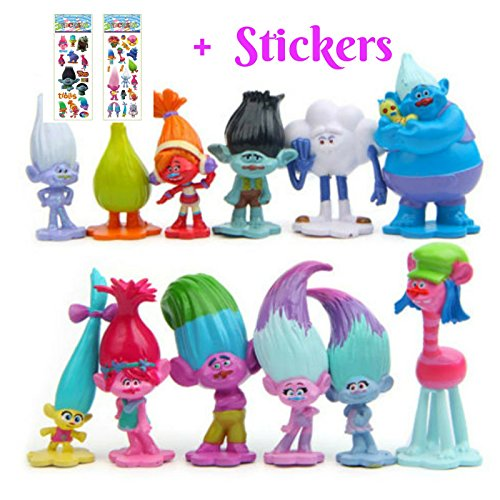 DreamWorks Troll Dolls | Set of 12 pcs Mini Figures | 3-6 cm Tall Cake...