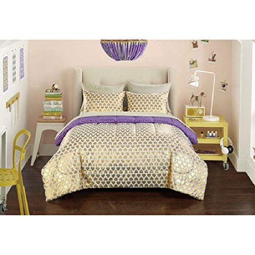 7 Piece Metallic Gold White Queen Comforter Set with Sheets, Hearts Bedding Set, Shiny Lux Bed in a Bag Purple Reversible Polka Dot Love Romantic Girls Beautiful Decorative Versatile Golden Printed ()
