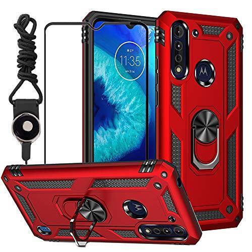 Funda Roja Y Vidrio Protector Para Moto G8 Power Lite