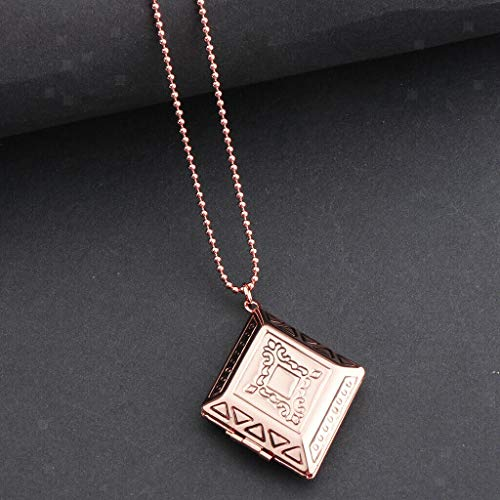 - Exquisite Rhombus Charms Pendant Necklace Engraved Photo Locket with Chain Necklace Jewelry Crafting Key Chain Bracelet Pendants Accessories Best| Color - Rose Gold
