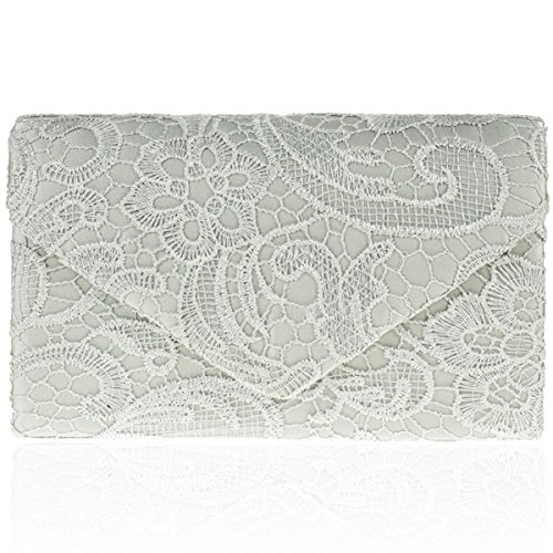 Zarla Ladies Envelope Clutch Bag Satin Lace Floral Women Evening Party Prom Bridal New Silver
