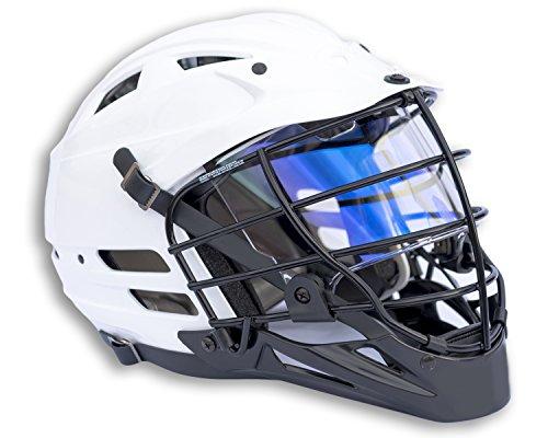 EliteTek Lacrosse Visor Eye Shield fits Cascade Helmets (Blue Sapphire Prizm, Model 1)