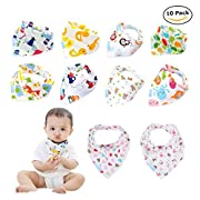 Labebe Baby Bib with 10-pack Multicolor, Unisex Pack A of 100% Cotton Bib for Kid, Baby Drool Bib Unisex/Toddler Bib Baby/Bandana Drool Bib/Bandana Bib Set/Newborn Bib/Kid Bib Snap/Drool Bandana Bib