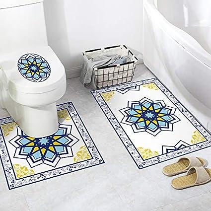 JEOSNDE Autocollant Toilette 3D Motif Marocain Motif Salle De Bains Autocollants De Sol PVC antid/érapant Toilette D/écoration R/énovation Color : A