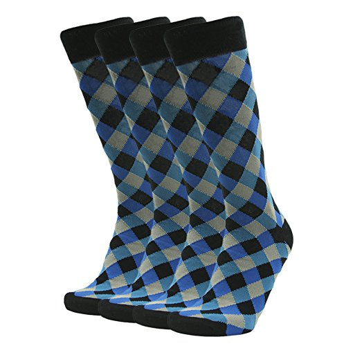 Suit Socks Men, SUTTOS Business Office Socks Mens 4 Piece Black Blue Diamonds Argyle Striped Patterned Mid Calf Long Tube Boot Crew Dress Socks for Groomsmen Wedding Gift 4 Pairs-Color - Diamond Socks Men