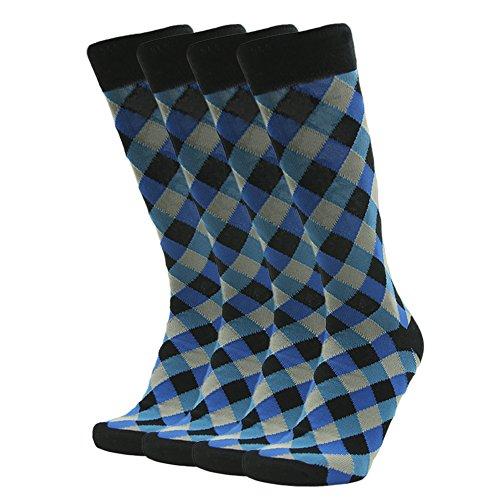 Suit Socks Men, SUTTOS Business Office Socks Mens 4 Piece Black Blue Diamonds Argyle Striped Patterned Mid Calf Long Tube Boot Crew Dress Socks for Groomsmen Wedding Gift 4 Pairs-Color 1 One Size