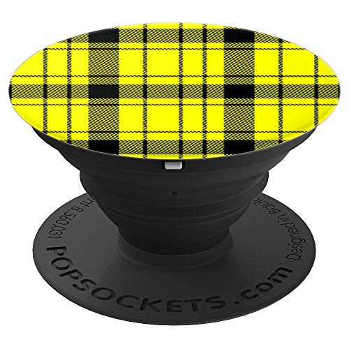 Hazard Yellow Prep School Punk Plaid Pattern Popsocket - PopSockets Grip and Stand for Phones and Tablets ()