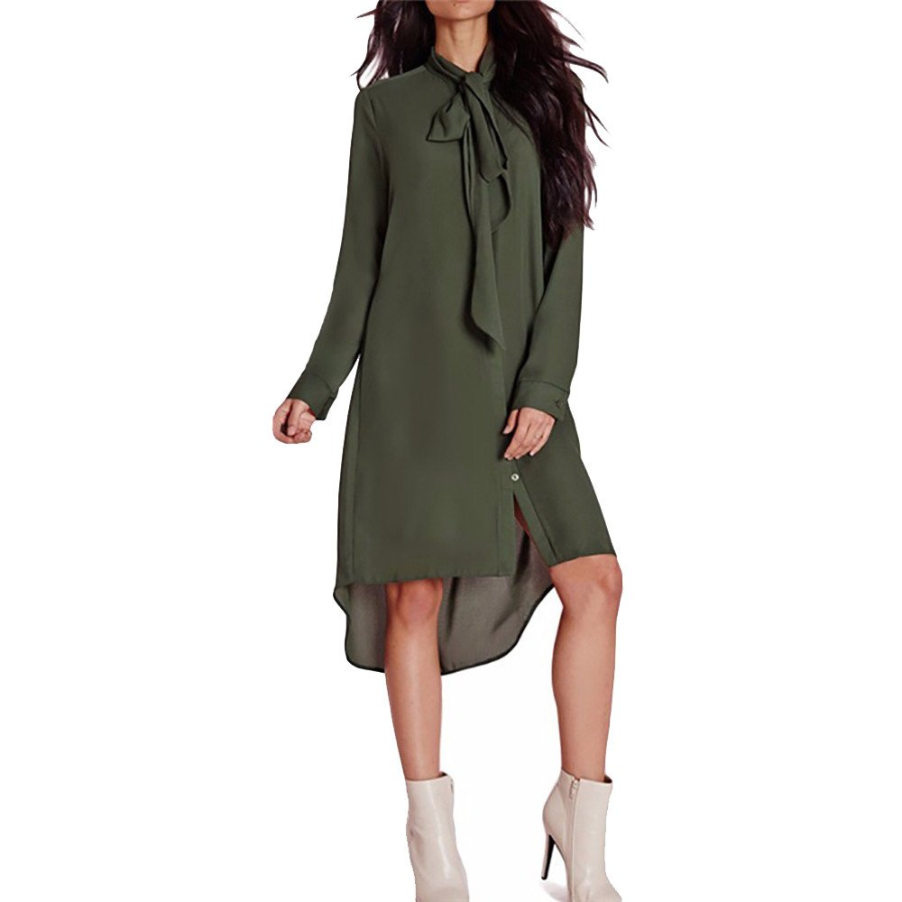Realdo Womens Solid Chiffon Dress, Casual Style Loose Bow Tie Turtleneck Shirt Long Sleeve Dress(Green,X-Large)