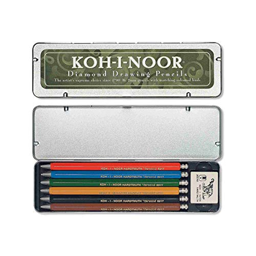 Koh-I-Noor : Diamond Drawing Mechanical Pencil Set : 5 Coloured & 1 Graphite Pencil with Eraser (Koh Mechanical I-noor Pencil)