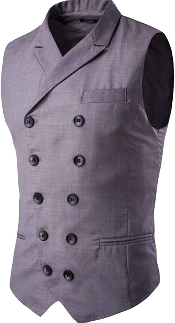 Conffetti Men Double Breasted Slim Fit Gilet Notched Lapel Formal Gentleman Party Vest Suits