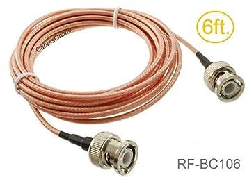 BNC macho a BNC macho RG316 Cable coaxial de baja pérdida RF, rf-bc106: Amazon.es: Electrónica