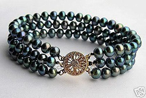 8mm Genuine Black Pearl Bracelet (Genuine 7-8mm 3 Rows Black Freshwater Akoya Pearl Bracelet Bangle 7.5'')