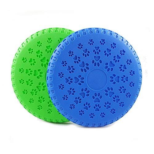 (XPangle Interactive Dog Frisbee Training Toys, Durable Dog Flying Discs Floating Soft Flexible Rubber for Medium Large Dog Pet Training Flying Saucer 2Pcs)