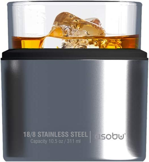 Asobu Insulated Whiskey Glass and Stainless Steel Sleeve (Silver)