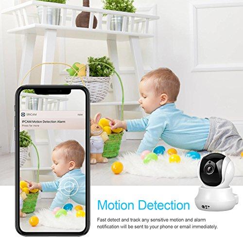 Cámara IP, Cámara de Vigilancia QZT 720P Wifi con Visión Nocturna, Audio Bidireccional, Giro / Inclinación, Detección de Movimiento, Alarma...