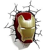 3D Light FX Marvel Lámpara 3D Máscara de Ironman Lámpara