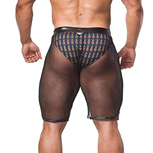 YiZYiF Men's Leather Waistband Transparent Sports Trunk Shorts Panties Lingerie Black - Leather Fishnet Shorts Mens