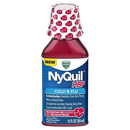 Vicks NyQuil HBP Cough Cold and Flu Nighttime Relief for People with High Blood Pressure, Cherry Liquid 12 FL ()