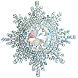 Sindary Luxury Wedding 3.15'' AB Clear Austrian Crystal Sunflower Brooch Pin Pendant
