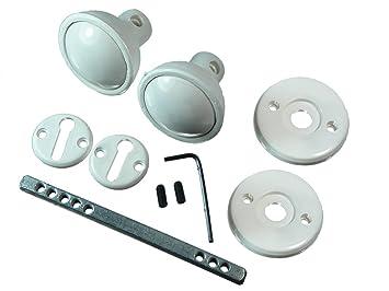 Blanca de Madera Cerraduras de puerta del botón Set Con fijaciones y husillo Paquete De 96