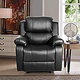 Merax Barwick PU Heated Massage Recliner Sofa Ergonomic Lounge with with 8 Vibration Motors, (Black)