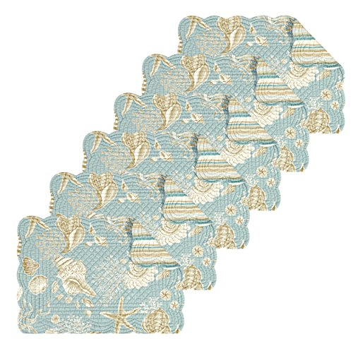 Natural Shells 13x19 Quilted Rectangular Placemat Set of 6 (Ocean Place)