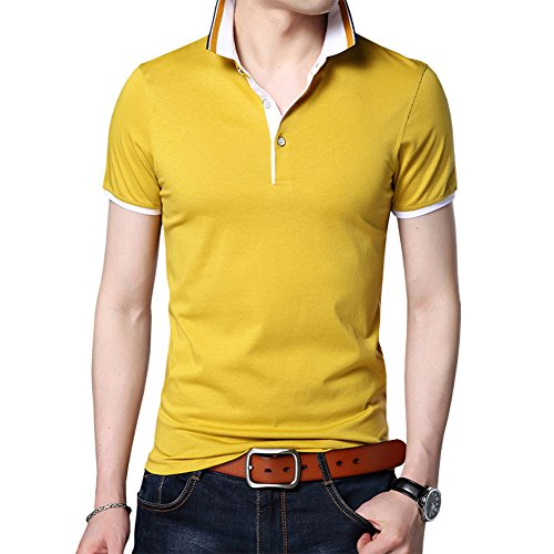 Womleys Mens Casual Slim Fit Short Sleeve Tops Button Collared Polo T Shirt (US Large, Yellow) -