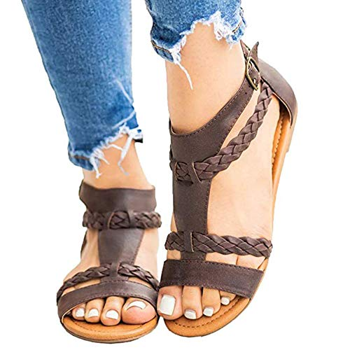 - Ru Sweet Womens Gladiator Strappy Flat Open Toe Lace Up Criss Cross Strap Ankle Wrap Summer Beach Sandals