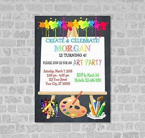 amazon com art party invitations art birthday party invitation