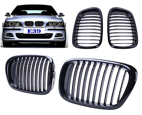 KittyParty Pair of Front Kidney Grilles Grill For BMW E39 525 528 530 535 M5 1997-2003(Black Gloss)