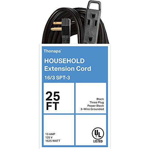 Thonapa 25 Ft Extension Cord with 3 Electrical Power Outlet - 16/3 Durable Black Cable by Thonapa