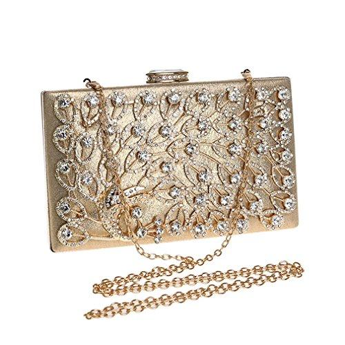 Frauen-Abend-Handtaschen-Kupplungs-Handmuster 3D Muster-Diamant-Haken-Handtaschen für Hochzeits-Verband 2018 neue Reise-kosmetischer Beutel, Verfassungs-Speicher (Color : Black) Gold
