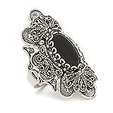 925 Sterling Silver Black Onyx Elongated Filigree Statement Ring (Size 6 - 11)