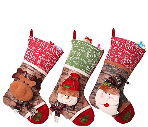 Donbomely Christmas Stockings Holiday3D Hangers Holders 18'' Inch Christmas Decorations Santa Claus/Snowman/Reindeer (Jcmysd-F)