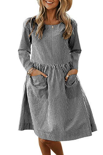 Asyoly Women Casual Long Sleeve Pinstriped Crew Neck Babydoll Waist Loose Shirt Midi Dress with Pockets Black
